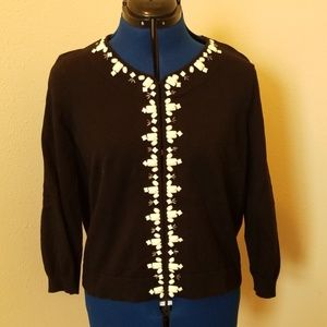 Style & Co Black Sweater with Off White Beading